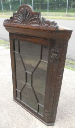 Victorian Dark Carved Oak Hanging Corner Cupboard